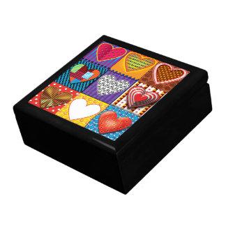 Keepsake box with multicoloured hearts.