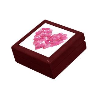 Keepsake box with rose petals hearts.