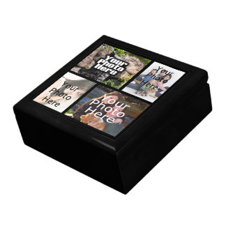 Keepsake Wood Jewelry/Valet Box, 4 Photo Collage Gift Box