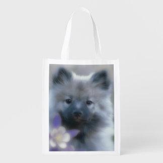 Keeshond and Columbine  - Dog Photograph Reusable Grocery Bag