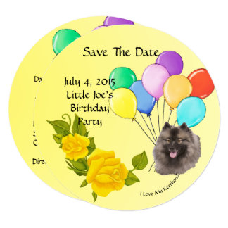 Keeshond and Yellow Roses Save The Date Card