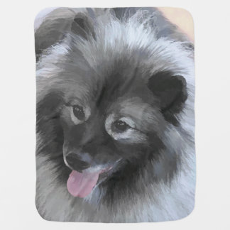 Keeshond Bailey Painting - Cute Original Dog Art Baby Blanket
