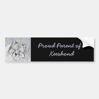 Keeshond Beth Painting - Cute Original Dog Art Bumper Sticker