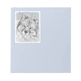Keeshond Beth Painting - Cute Original Dog Art Notepad