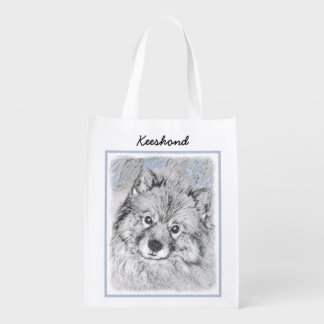 Keeshond Beth Painting - Cute Original Dog Art Reusable Grocery Bag