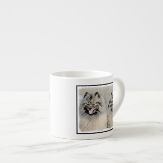 Keeshond Brothers 2 Painting - Original Dog Art Espresso Cup