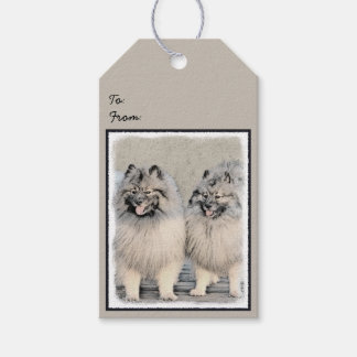 Keeshond Brothers 2 Painting - Original Dog Art Gift Tags