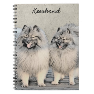 Keeshond Brothers 2 Painting - Original Dog Art Notebook