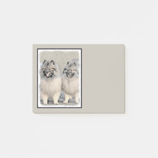 Keeshond Brothers 2 Painting - Original Dog Art Post-it Notes