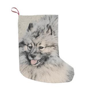 Keeshond Brothers 2 Painting - Original Dog Art Small Christmas Stocking
