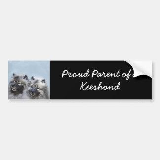 Keeshond Brothers Painting - Original Dog Art Bumper Sticker