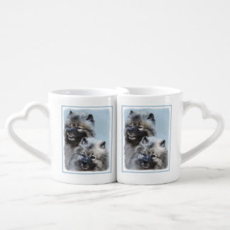 Keeshond Brothers Painting - Original Dog Art Coffee Mug Set
