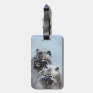 Keeshond Brothers Painting - Original Dog Art Luggage Tag