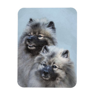Keeshond Brothers Painting - Original Dog Art Magnet