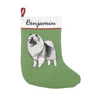 Keeshond Cartoon Dog with Custom Text Small Christmas Stocking