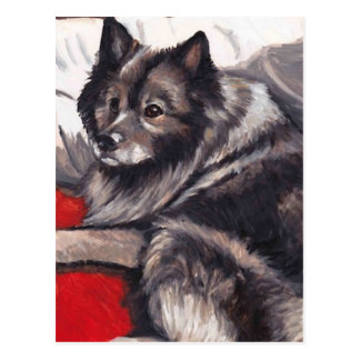 Keeshond Dog Art Postcard