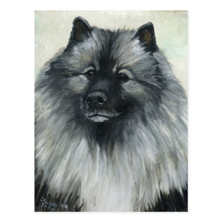 """Keeshond"" Dog Art Postcard"