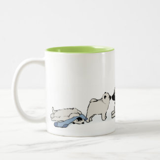 Keeshond Family with Blue Sock Two-Tone Coffee Mug