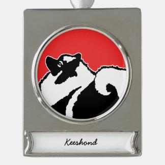 Keeshond Graphics  - Cute Original Dog Art Silver Plated Banner Ornament