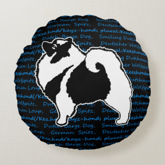 Keeshond Graphics with Words Round Cushion