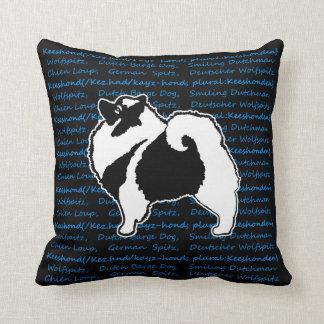 Keeshond Graphics with Words Throw Pillow