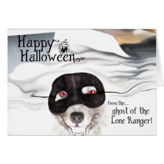 Keeshond Halloween greeting card
