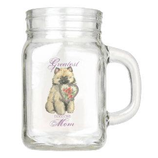 Keeshond Heart Mom Mason Jar