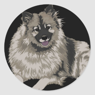 Keeshond Illustration Round Sticker