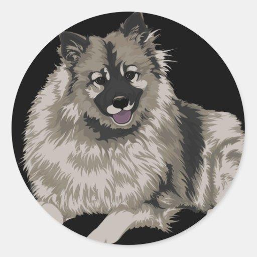 Keeshond Illustration Round Sticker