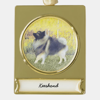 Keeshond in Aspen Gold Plated Banner Ornament