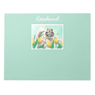 Keeshond in Tulips Notepad