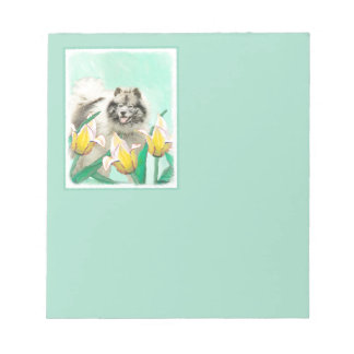 Keeshond in Tulips Painting - Original Dog Art Notepad