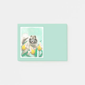 Keeshond in Tulips Post-it Notes