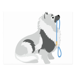 Keeshond Leash Postcard