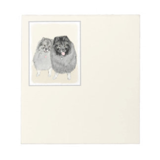 Keeshond Mom and Son Painting - Original Dog Art Notepad