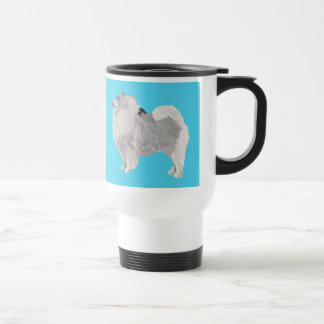Keeshond on Blue Travel Mug