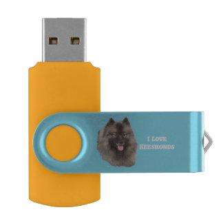 Keeshond on Blue USB Flash Drive