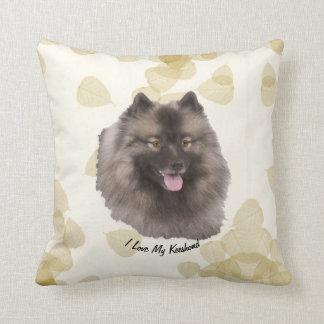 Keeshond on Tan Leaves Cushion