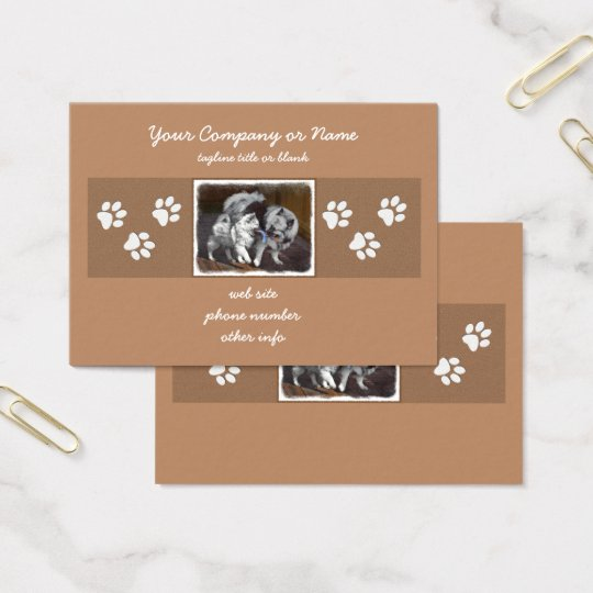 Keeshond Playtime Painting - Cute Original Dog Art Business Card