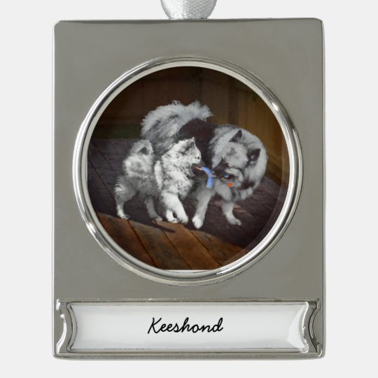 Keeshond Playtime Painting - Cute Original Dog Art Silver Plated Banner Ornament
