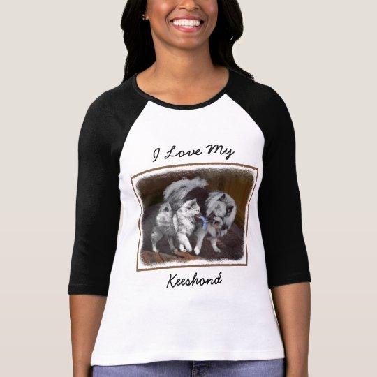Keeshond Playtime Painting - Cute Original Dog Art T-Shirt