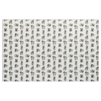 Keeshond Puppies Fabric