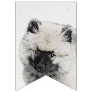 Keeshond Puppy Drawing - Cute Original Dog Art Bunting