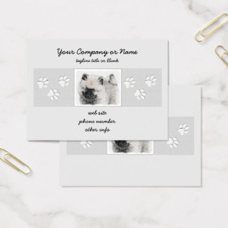 Keeshond Puppy Drawing - Cute Original Dog Art Business Card