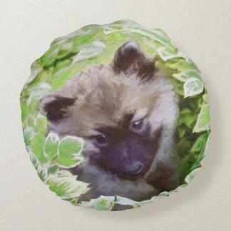 Keeshond Puppy Round Cushion