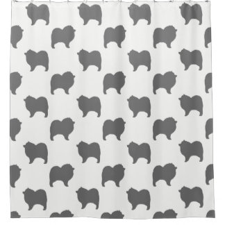 Keeshond Silhouettes Pattern Shower Curtain