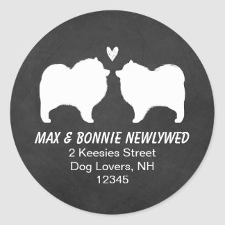 Keeshond Silhouettes Return Address Classic Round Sticker
