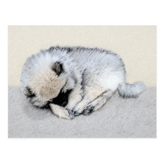 Keeshond Sleeping Puppy Painting - Original Dog Ar Postcard