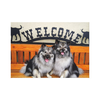 Keeshond welcome canvas print