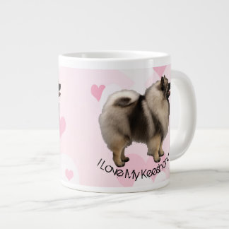 Keeshond White and Pink Hearts on Pink Large Coffee Mug